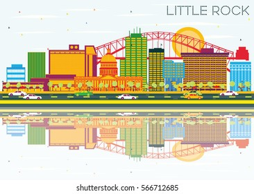 Little Rock Skyline with Color Buildings, Blue Sky and Reflections. Vector Illustration. Business Travel and Tourism Concept. Image for Presentation Banner Placard and Web Site.