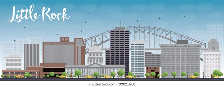 Little Rock Skyline with Grey Building and Blue Sky. Vector Illustration. Business travel and tourism concept with modern buildings. Image for presentation, banner, placard and web site.