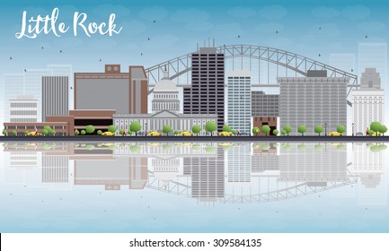 Little Rock Skyline with Grey Building, Blue Sky and reflections. Vector Illustration. Business travel and tourism concept with place for text. Image for presentation, banner, placard and web site.
