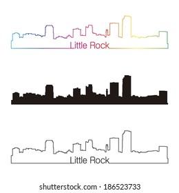 Little Rock skyline linear style with rainbow in editable vector file