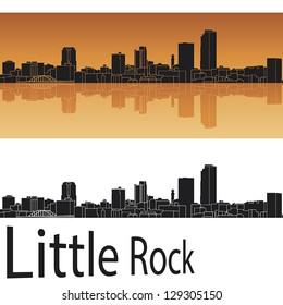 Little Rock skyline in orange background in editable vector file