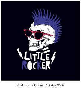 Little Rocker skull vector illustration. T-shirt print for kids.