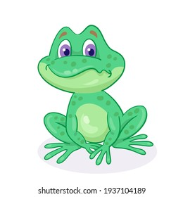 Little sad green frog is sitting. In cartoon style. Isolated on white background. Vector illustration.