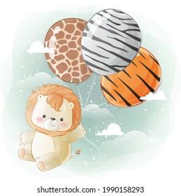 Little Safari Lion Flying with Animal Printed Balloons 2