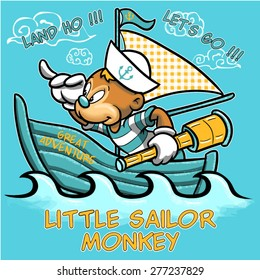 little sailor monkey tee shirt graphic design pajama character illustration