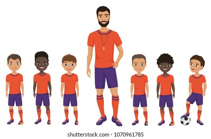 Little school kids football team with a coach. Vector illustration.