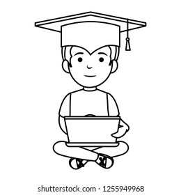 little schoolboy with graduation hat and laptop