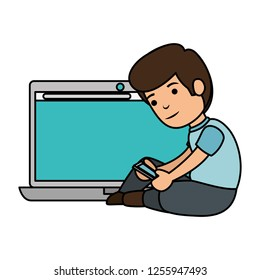 little schoolboy with laptop computer