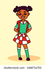 Little schoolgirl. African American , school uniform. Cartoon illustration.