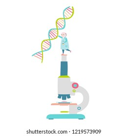 Little scientist on microscope and DNA structure. Vector illustration.