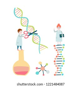 Little scientists concept. DNA structure, genome sequencing. Vector illustration.