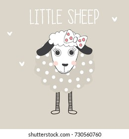 little sheep, baby shower card vector illustration