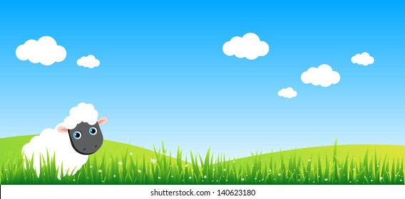 Little sheep cartoon character eating a flower on a meadow