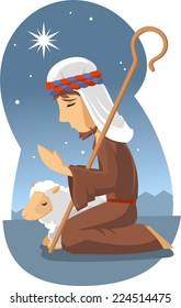 Little shepherd of bethlehem vector cartoon illustration