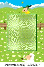 Little Shepherd's Maze Game (help the Boy find his Lamb - vector puzzle)