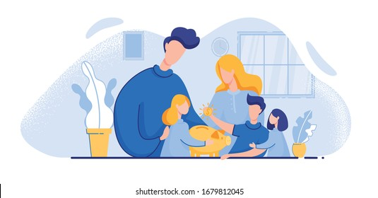 Little Siblings, Two Younger Sisters and Elder Brother, and Their Parents, Surrounding Family Piggy Bank. Boy, Dropping Coin in Moneybox. Loving Parents, Explaining Kids Basics Money Saving.