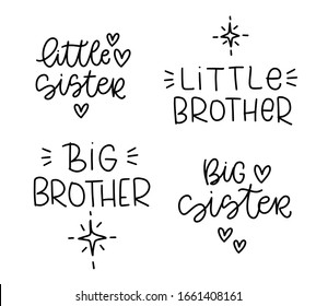 Little sister, big brother lettring vector design to use as t-shirt and bodysuit iron on. Traditional matching outfit print with heart and twinkle star clipart for baby and toddler kids.