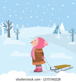 Little smiling girl character catches snowflakes with tongue. Cartoon Schoolgirl holding sled. Snow and winter funny banner. Nature view on background. Flat vector illustration