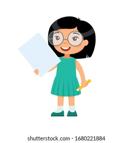 Little smiling girl holding empty paper sheet flat vector illustration. Cute schoolgirl with blank poster and pencil in hands isolated on white background. Asian child with notepad page mock up