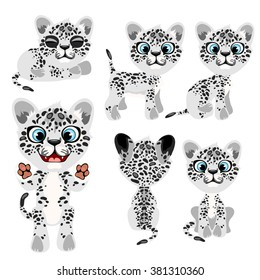The little snow leopard. Wild animals. Vector illustration.