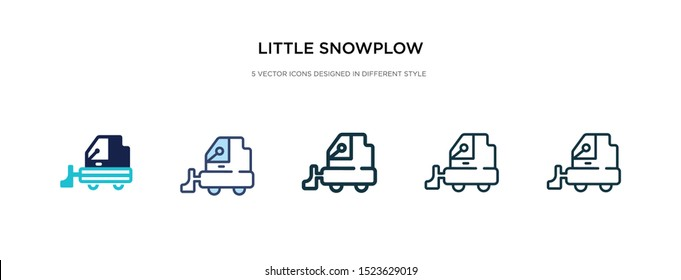 little snowplow icon in different style vector illustration. two colored and black little snowplow vector icons designed in filled, outline, line and stroke style can be used for web, mobile, ui