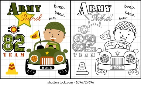 Little soldier on military car, coloring page or book, vector cartoon illustration