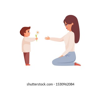 Little son gives flower to mom. Kind boy holds flower for his mother. Little boy congratulating happy woman. Colorful vector cartoon character.