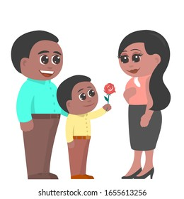 Little son gives mother a rose flower. A happy dad is standing nearby. Mom shines with joy. African American family. Vector flat illustration in cartoon style.