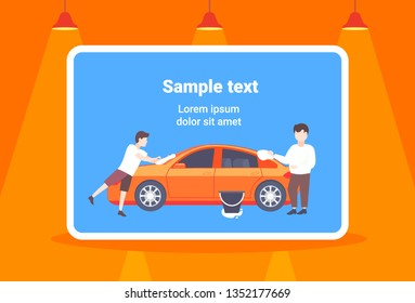 little son helping his father washing car happy family man with boy spending time together male cartoon characters full length copy space horizontal