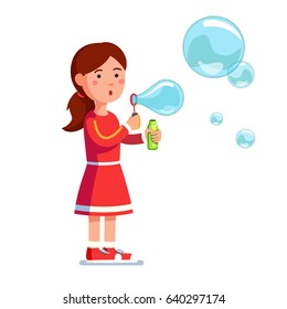 Little standing girl kid blowing bubbles holding ring and bottle with soap in hands. Flat style character vector illustration isolated on white background.