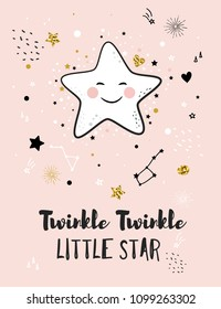 Little star, greeting card for baby shower, nursery poster, kids and baby t-shirt and wear