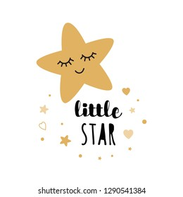 Little star text with cute gold star hearts for decoration kids room wall baby shower card template Cute poster Vector illustration. Banner for children birthday design, logo, label, sign, print.