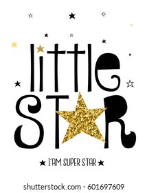 little star typography vector for print design.