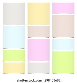little sticky paper collection with shadow in six different colors