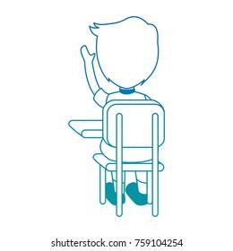 little student in school chair