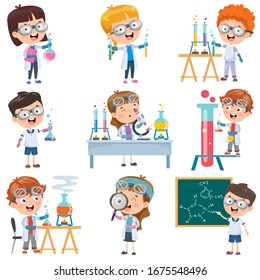 Little Students Doing Chemistry Experiment