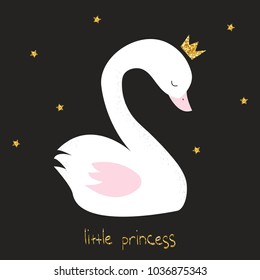 Little swan princess with gold glitter crow and lettering. Vector hand drawn illustration.
