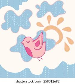 Little sweet flying bird. Vector illustration