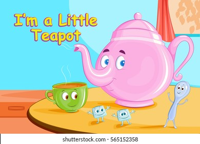 I'm A Little Teapot,Kids English Nursery Rhymes book illustration in vector