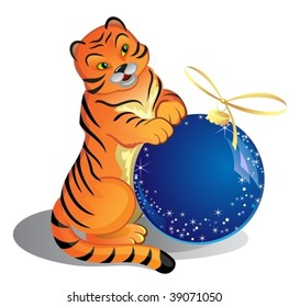 Little tiger with blue ball