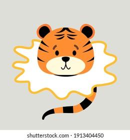 little tiger cub cartoon character, head and tail. Vector illustration isolated