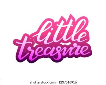 Little treasure lettering sticker. Vector illustration