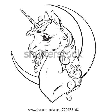 Little Unicorn Crescent Moon Isolated Vector Stock Vector Royalty