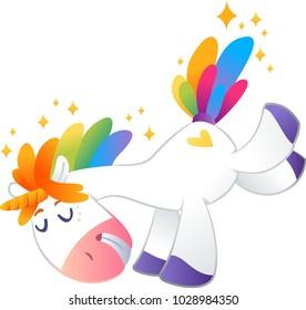 Little unicorn with rainbow mane on white background