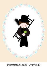 little vector chimney sweeper in floral frame - illustration