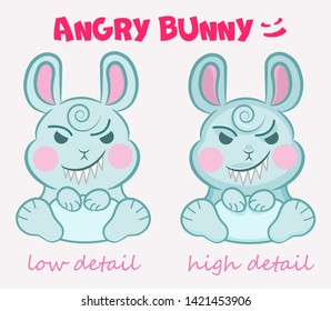 Little vector cute evil bunny is sitting with a terrible smile in two detail mode. Concepts for children's party, event, Halloween, etc.