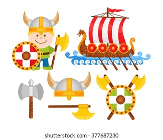 Little Viking Cartoon Illustrations Set