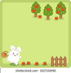 Little white bunny collecting apples near a fence, apple trees in background (blank middle, template for text)