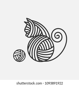 Little white cat is playing with wool ball. Children vector illustration. Cat and yarn simple logo