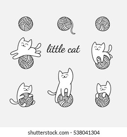 Little white cat is playing with wool balls. Children vector illustration. Cute character design. Set of graphic elements for kids. Cartoon hand drawn style. Wrapping, package, textile design.